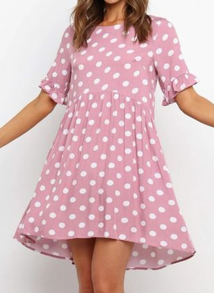 Casual Polka Dot Tunic Round Neckline A-line Dress (147423904)