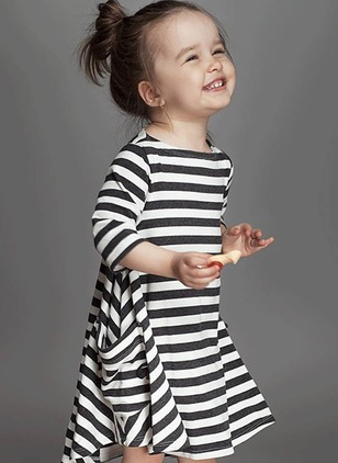 Girls' Stripe Daily 3/4 Sleeves Dresses