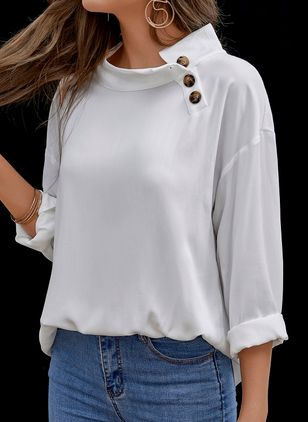 Solid Casual V-Neckline Long Sleeve Blouses (5121637)