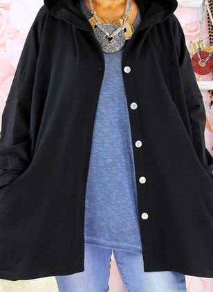 Long Sleeve Hooded Buttons Pockets Coats (107561337)