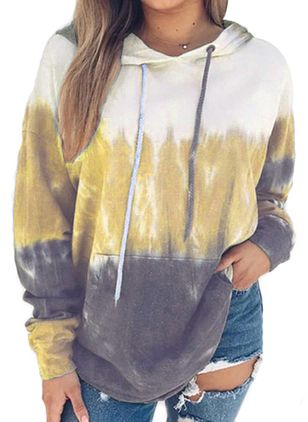 Color Block Alldaglig Hooded Sweatshirtar (5715728)