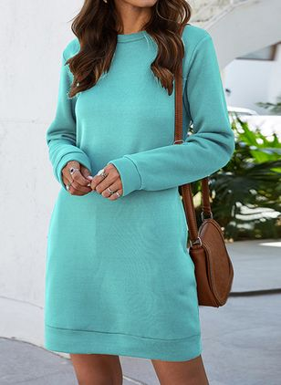 Elegant Solid Tunic Round Neckline A-line Dress (107562199)