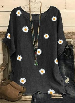Floral Round Neck Half Sleeve Casual T-shirts (147049759)