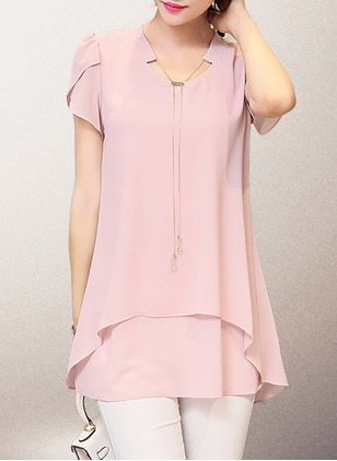 Solid Casual Chiffon Round Neckline Cap Sleeve Blouses  ...