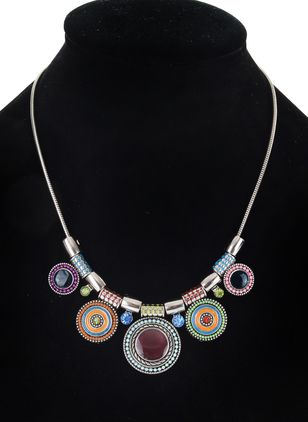 Casual Round Crystal Pendant Necklaces (1532203)