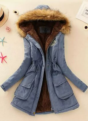 Long Sleeve Hooded Pockets Unremovable Fur Collar Parkas