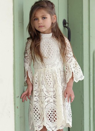 Girls' Solid Holiday Long Sleeve Dresses