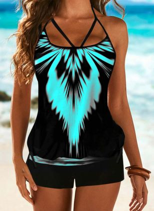 Polyester Color Block Tankinis Swimwear (146980174)