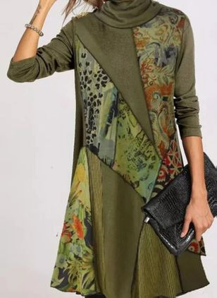 Casual Floral Tunic High Neckline A-line Dress (135452626)