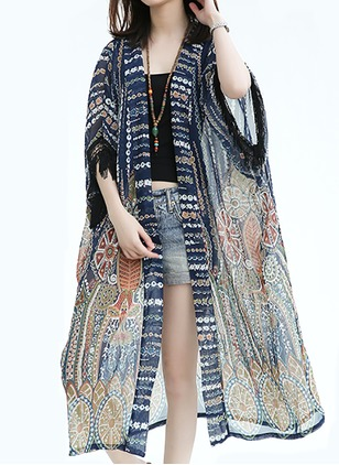 Chiffon Half Sleeve Collarless Tassel Coats