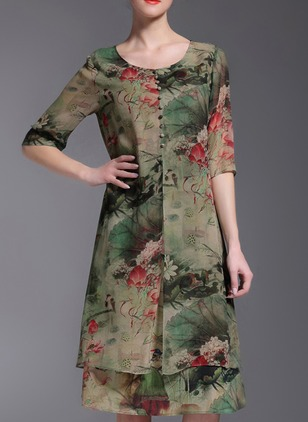 Floral Buttons Half Sleeve Knee-Length A-line Dress