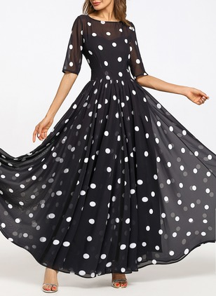 Chiffon Polka Dot Half Sleeve Maxi A-line Dress