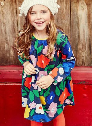 Girls' Cute Floral Daily Long Sleeve Dresses
