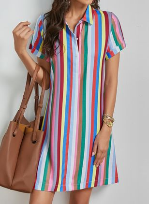 Trendy Stripe Tunic Collar Shift Dress (1334976)