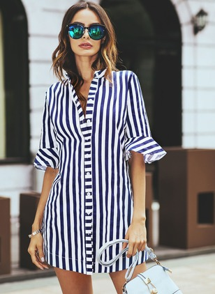 Stripe Others Half Sleeve Blouses