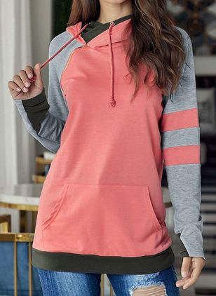 Color Block Alldaglig Hooded Fickor Sweatshirtar (5715722)