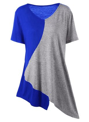 Plus Size Color Block Casual V-Neckline Short Sleeve Blouses