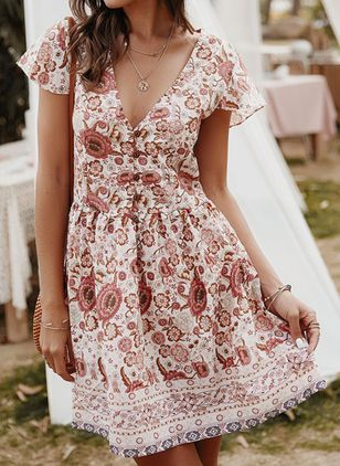 Casual Floral Skater V-Neckline X-line Dress (100546620)