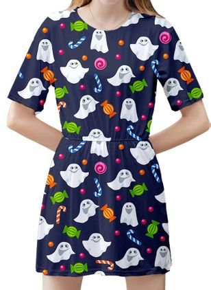 Halloween Color Block Skater Round Neckline X-line Dress (111109556)