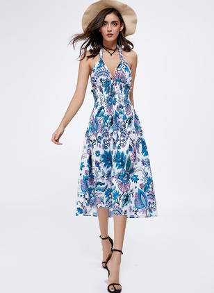 Floral Appliques Sleeveless Midi A-line Dress