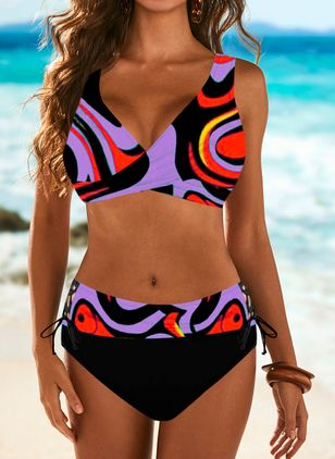 Polyester Color Block Knotted Bikinis Swimwear (100448377)