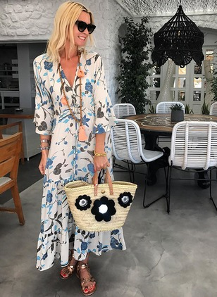 Floral 3/4 Sleeves Maxi Shift Dress