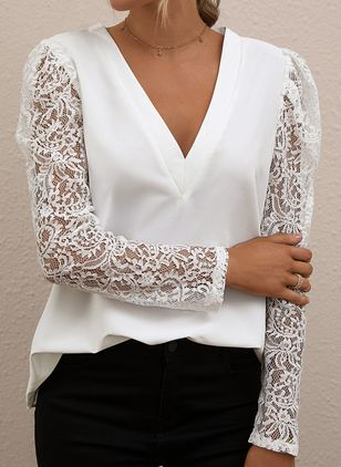 Solid Casual V-Neckline Long Sleeve Blouses (1498981)