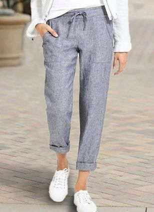 Casual Straight Pockets Mid Waist Polyester Pants (4038029)