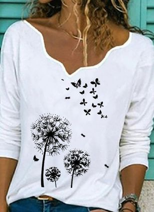 Floral V-Neckline Long Sleeve Casual T-shirts (146964149)