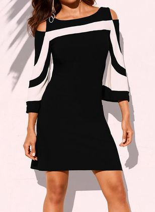 Chic Color Block Round Neckline Above Knee X-line Dress (1529872)