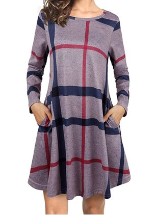 Casual Color Block Tunic Round Neckline A-line Dress (111323614)