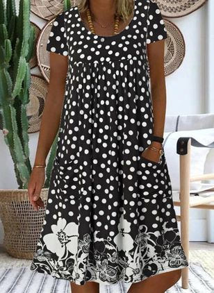 Casual Floral Tunic Round Neckline Shift Dress (4218775)