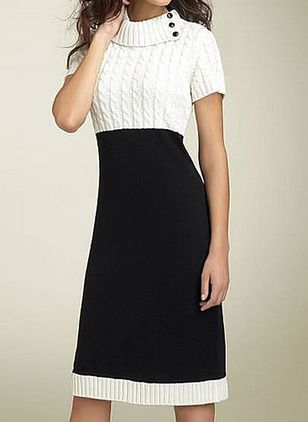 Elegant Color Block Sweater Round Neckline Bodycon Dress (107805436)