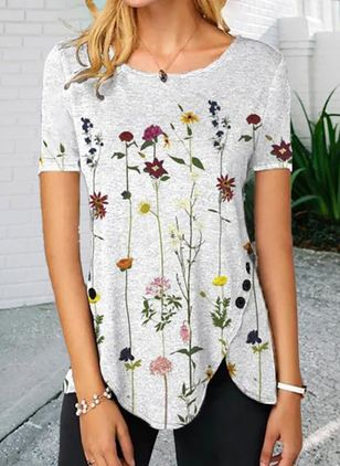 Floral Casual Round Neckline Short Sleeve Blouses (147425846)