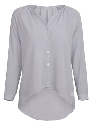 Plus Size Solid Casual V-Neckline Long Sleeve Blouses