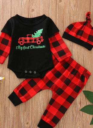 Girls' Christmas Alphabet Daily Long Sleeve Clothing Sets (118208043)