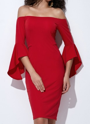 Solid Pencil 3/4 Sleeves Above Knee Bodycon Dress