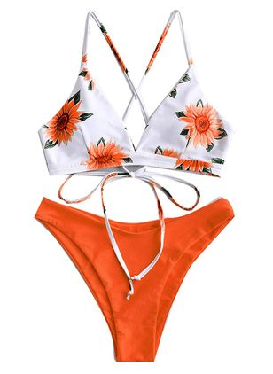 Polyester Knotted Floral Bikinis Swimwear (1474375)