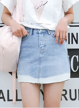 Denim Color Block Above Knee Casual Blue Skirts