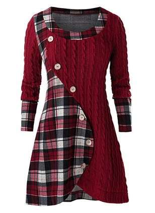 Elegant Plaid Skater Round Neckline X-line Dress (146712689)