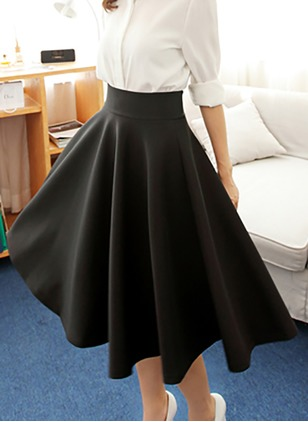 Cotton Solid Knee-Length Casual None Skirts