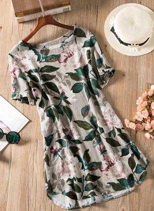 Cotton Floral Short Sleeve Above Knee Dresses