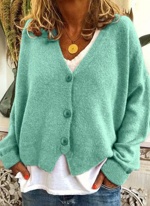 Long Sleeve V-neck Buttons Sweaters Coats (146789468)