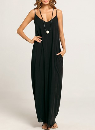 Cotton Solid V-Neckline Sleeveless Maxi Dress