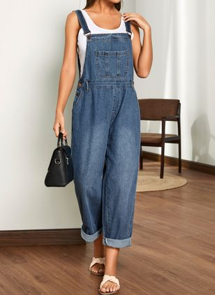 Casual Loose Pockets High Waist Denim Jumpsuits (1513297)