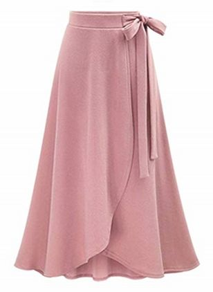 Solid Mid-Calf Casual Skirts (1409901)