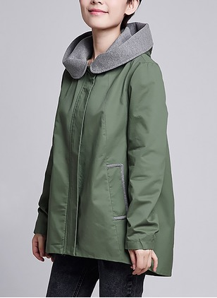 Cotton & Cotton Blend Long Sleeve Hooded Pockets Trench Coats Coats