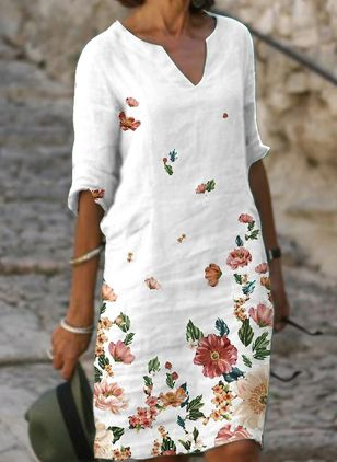 Casual Floral Tunic V-Neckline A-line Dress (6047284)