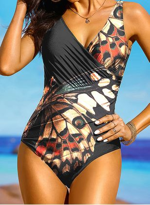 Plus Size One-piece Polyester High Waist Floral Plus Swimwear (1513080)