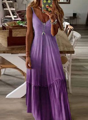Casual Solid Camisole Neckline Maxi X-line Dress (1506400)